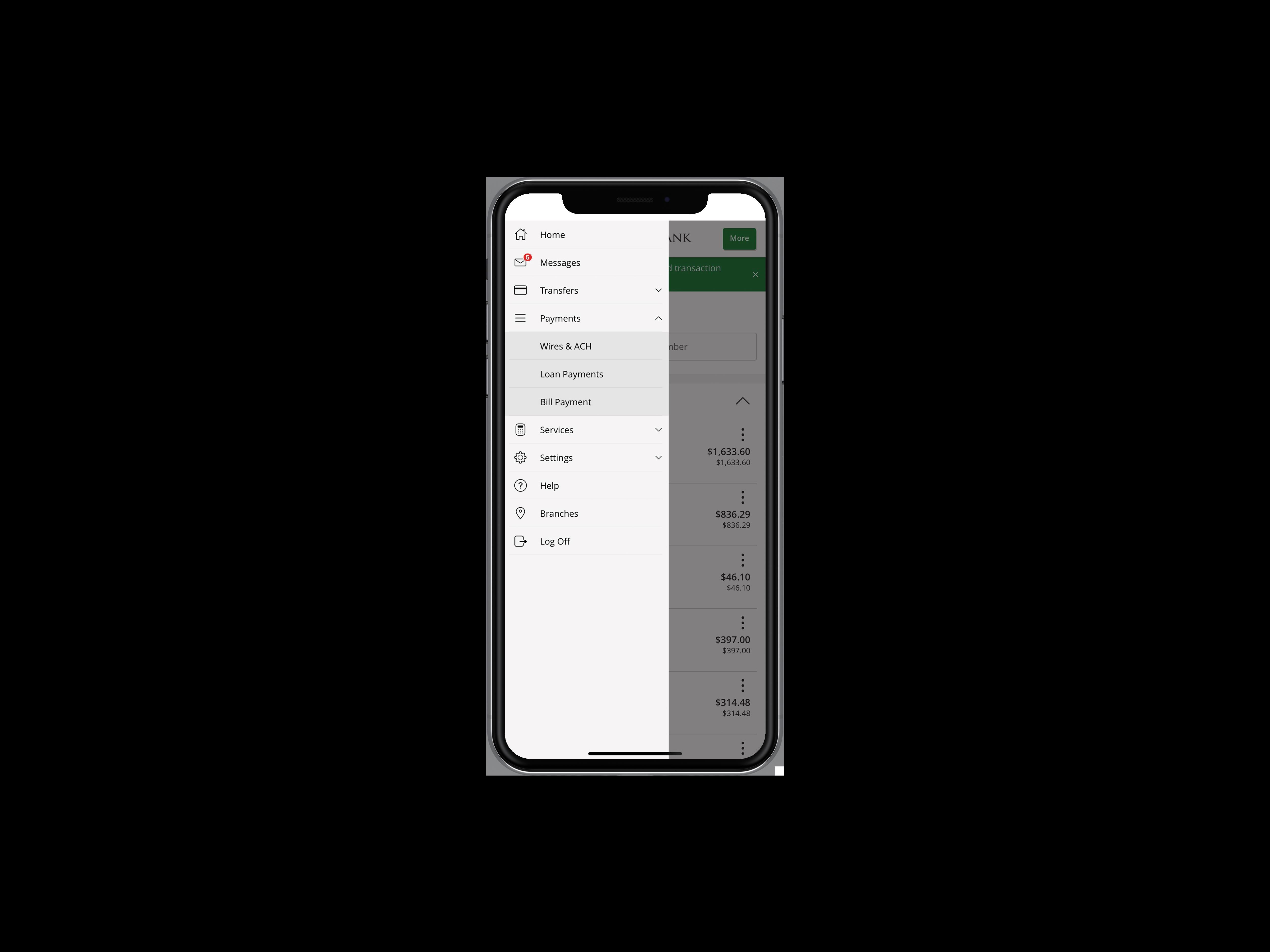 Phone with Digital Banking menu