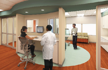 Image showing rendering of new mother-baby unit at Truman Medical Center, a project financed through Academy Bank and CBKC.